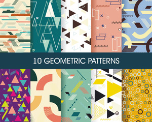 Set of 10 perfect patterns. Hipster stile geometric background.