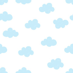 Light blue clouds isolated on ehite background. Seamless pattern with clouds.