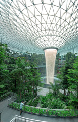 The Jewel terminal at Changi Airport, with the rain vortex indoor waterfall, Singapore