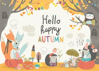 Funny animals meeting autumn in the forest