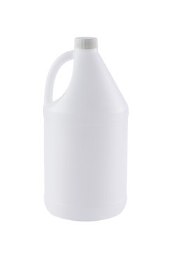 White plastic bottle for liquid 1 gallon or . 5 liters isolated. The bottle on white background. - Image