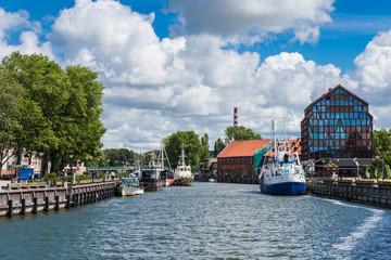 Foto op Canvas Scandinavië Ships at embankment at Dane River Klaipeda; Lithuania
