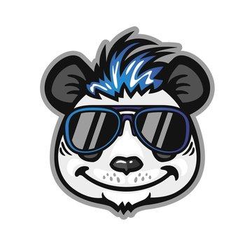 Panda head with blue hair and sunglasses, anthropomorphic panda