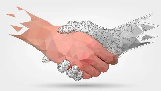 Low poly hands, handshaking, human and robot arm, automation, technology