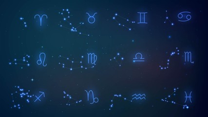Twelve zodiac constellation in night sky, astrology, esotericism, prediction of the future.