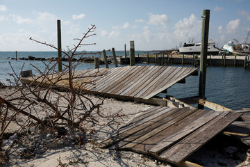 A destroyed dock is seen at a marina after Hurricane Dorian hit the Abaco Islands in Marsh Harbour