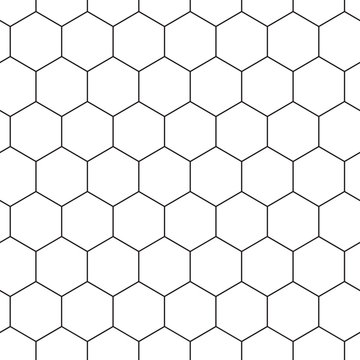 Geometric seamless pattern with hexagons, black and white tile. Honeycomb background. Outline design. Vector illustration