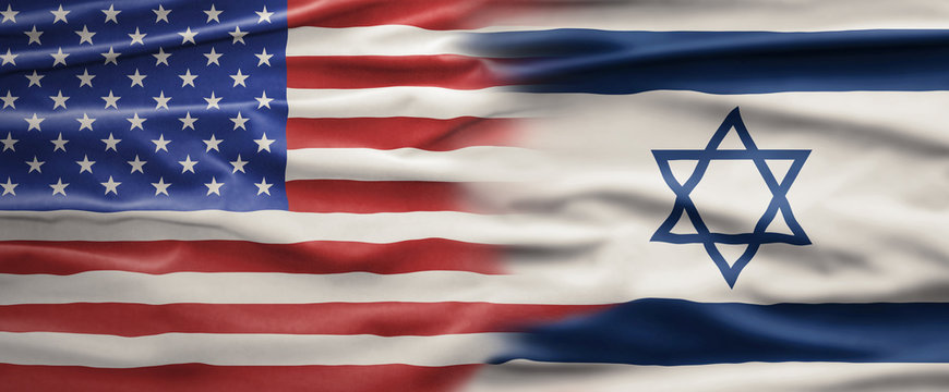 Political relationships. Concept of American and Israeli friendship with US and Israeli flag.