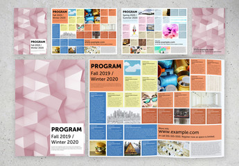 Program Brochure Layout with Colorful Grid