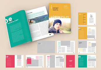 Magazine Layout with Bright Colorful Elements