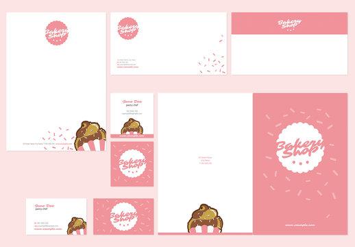 Pink Bakery Stationery Layout Set