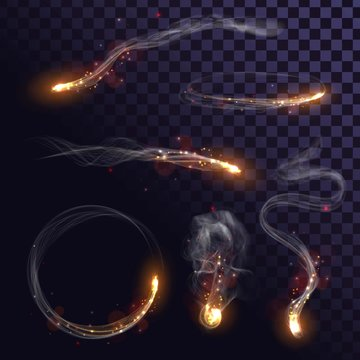 Set of sparks with smoke, fire effects