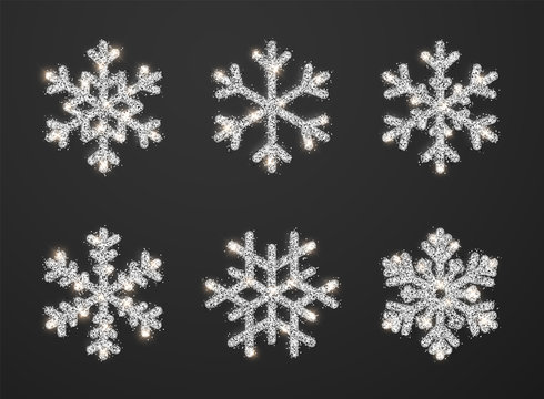 Shining silver snowflakes on black background. Christmas and New Year background. Vector illustration
