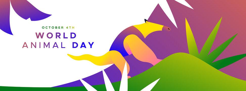 World animal day banner of wild jungle anteater