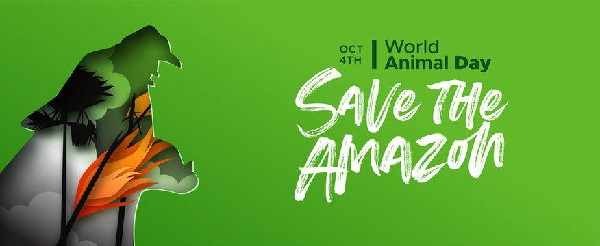 World Animal day amazon fire jaguar cat paper cut