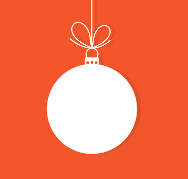 Christmas bauble ornament on red background.