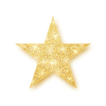 Gold shiny glitter glowing star with shadow isolated on white background. Vector illustration