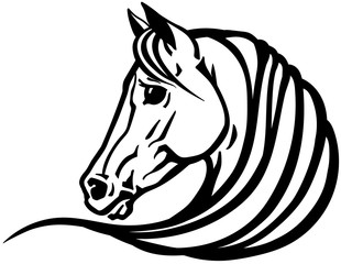 head of Arabian horse in profile. Logo, emblem, tattoo template. Black and white outline vector illustration