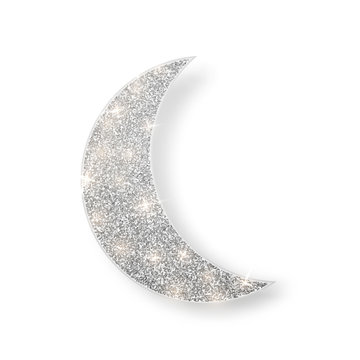 Silver shiny glitter glowing half moon with shadow isolated on white background. Crescent Islamic for Ramadan Kareem design element. Vector illustration