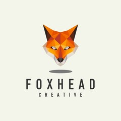 geometric fox head logo - vector illustration on a light background