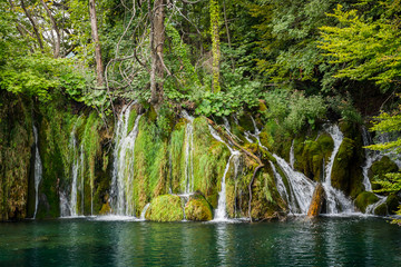 Amazing waterfalls in the forest in Plitvice lakes National Park, Croatia. Nature landscape