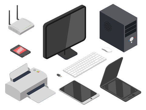 Computer devices realistic illustrations set