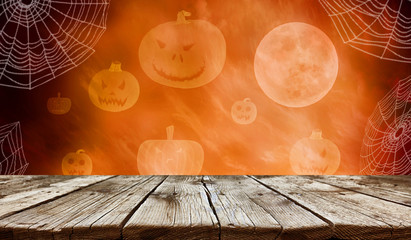 Empty wooden table - Halloween background