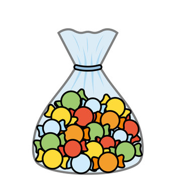 Sweet and delicious candies bag design