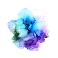 Delicate hand drawn watercolor flower in blue and violet tones. Alcohol ink art. Raster illustration.