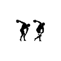 silhouette of an ancient Greek athlete, Discus thrower silhouette , Discus thrower