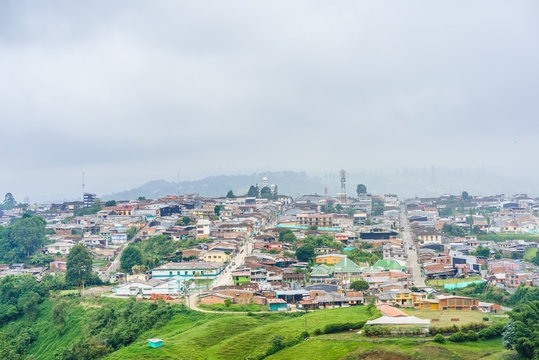 Aerial view over the colonial city of Filandia in Colombia