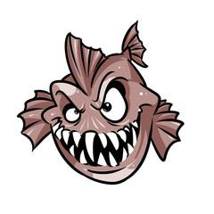 Scary fish horror piranha monster animal character cartoon illustration isolated image