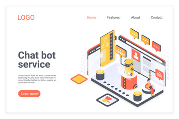 Chat bot service isometric vector landing page template. Customer support chatbot website design layout. Client virtual assistant, robot operator web page 3d concept. AI technology webpage interface