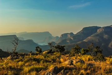 Picturesque blyde river canyon and three rondavels in Panarama r Wall mural