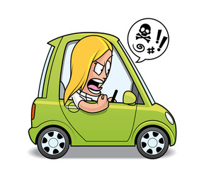Papiers peints Cartoon voitures Furious woman driver