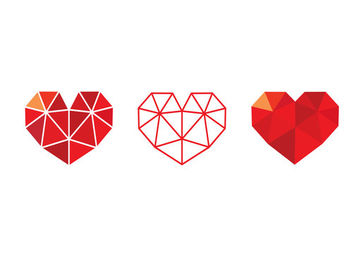 Low poly red  heart icon set, love symbol collection - Vector