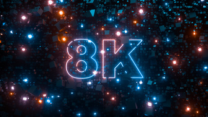 8K ultra hd television technology concept. Abstract creative background. Neon glowing lights, millions of fluorescent particles. Modern colorful illumination design, beautiful explosion. 3d rendering