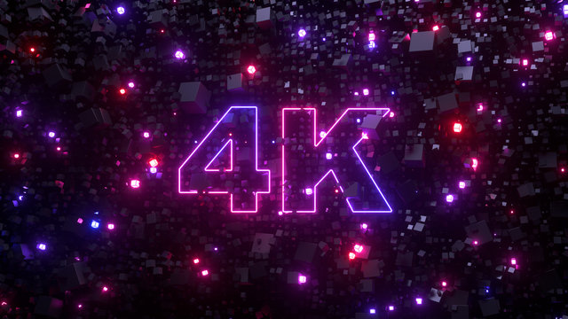 4K ultra hd television technology concept. Abstract creative background. Neon glowing lights, millions of fluorescent particles. Modern colorful illumination design, beautiful explosion. 3d rendering