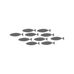 Silhouette of a flock of fish floating on a white background. Coloring on the theme of marine fauna. Vector illustration of underwater animals.