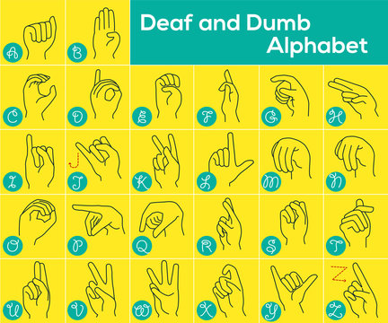 Vector illustration of Deaf alphabet, designation of English letters with hands, international ABC, American Sign Language ASL