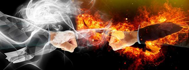 煙に包まれた拳と炎に包まれた拳がぶつかり合う