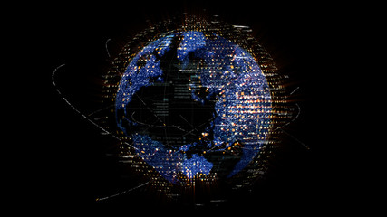 Wall Mural - Futuristic global communication via broadband internet connections between cities around the world with matrix particles continent map for head up display background