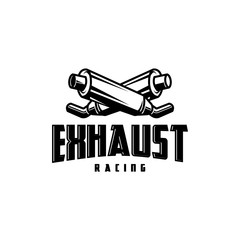motorcycle exhaust vintage logo template