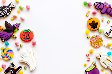 Frame from halloween figures on white background top view mockup