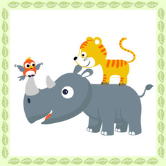 funny animals cartoon, rhinoceros, cat, bird on leaves frame, vector cartoon illustration