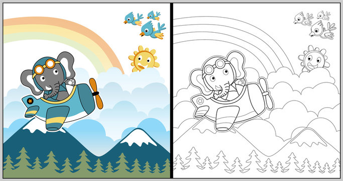 funny pilot cartoon, cute elephant on a plane with birds and smiling sun, coloring book or page