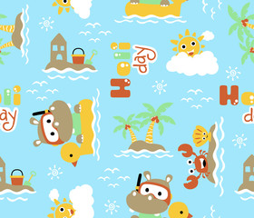 seamless pattern of a hippo on  duck swim ring cartoon in the beach with funny marine animals.