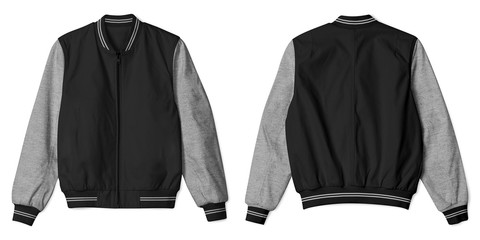 Set of blank jacket bomber with heather grey black color in front and back view isolated on white background