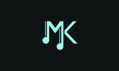 MK and KM or M or K abstract music guitar signs monogram letter mark vector logo template