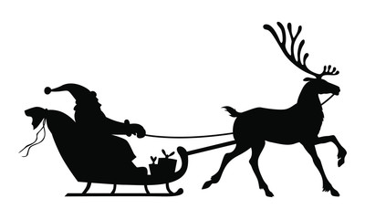 Vector illustrations of silhouette of Santa Claus riding on reindeer sleigh